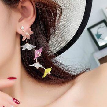 ต่างหูแฟชั่นเกาหลีอะไหล่ทองห้อยระย้าดอกไม้หลากสี