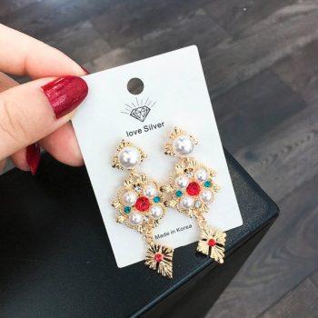 ต่างหูแฟชั่นเกาหลีก้านเงิน S925 Baroque earrings ต่างหูดีไซน์สไตล์บารอก