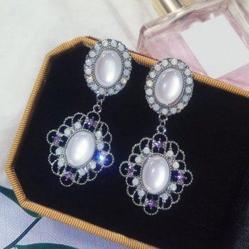 ต่างหูแฟชั่นเกาหลีก้านเงิน S925 อะไหล่เงิน Baroque earrings ทรงกลมรีล้อมเพชร