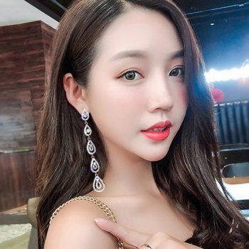 ต่างหูเกาหลีก้านเงิน S925 อะไหล่เงินห้อยระย้าทรงหยดน้ำยาวประดับด้วยเพชรสวิส CZ Diamond