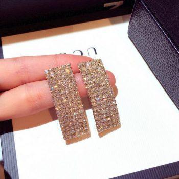ต่างหูเกาหลีก้านเงิน S925 อะไหล่ทองแต่งสี่เหลี่ยมโค้งแบบยาวประดับเพชรทั้งตัว