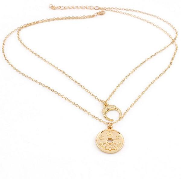 สร้อยคอ 2 ชั้นอะไหล่ทองแต่งจี้จันทร์เสี้ยวกับเหรียญจีน
