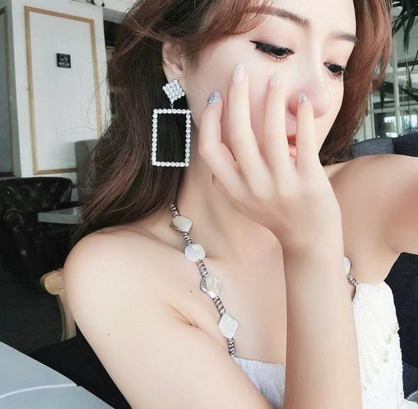 ต่างหูเกาหลีก้านเงิน S925 อะไหล่เงินสี่เหลี่ยมห้อยสี่เหลี่ยมประดับเพชร