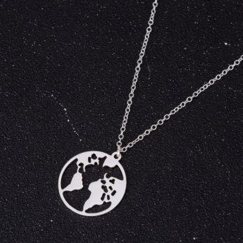 สร้อยคออะไหล่เงินจี้แผนที่รูปโลก Silver