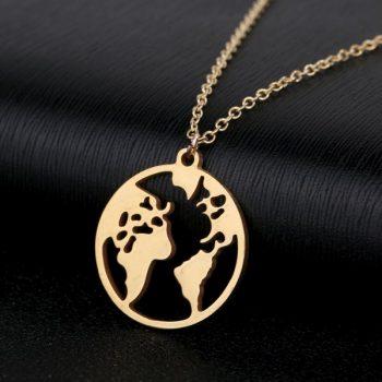 สร้อยคออะไหล่ทองจี้แผนที่รูปโลก Gold