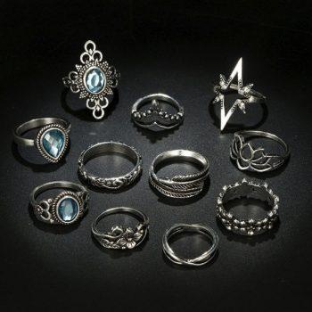 เซ็ตแหวนสไตล์โบฮีเมียนอะไหล่เงินรมดำเซ็ต 11 ชิ้น