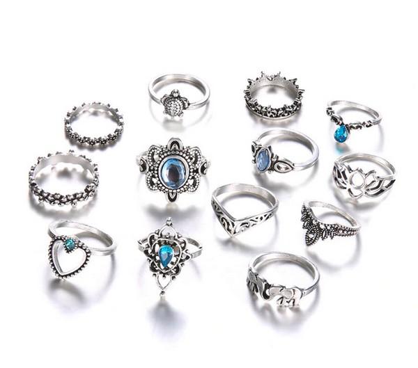 เซ็ตแหวนสไตล์โบฮีเมียนงานสวยอะไหล่เงินรมดำเซ็ต 13 ชิ้น