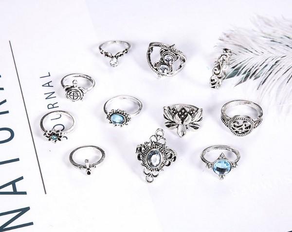 เซ็ตแหวนสไตล์โบฮีเมียนงานสวยอะไหล่เงินรมดำเซ็ต 11 ชิ้น