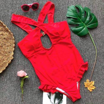 ชุดว่ายน้ำวันพีชสไตล์ฝรั่งสีแดงแต่งไขว้ด้านหน้าแต่งระบาย