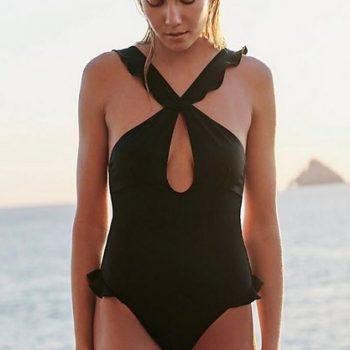 ชุดว่ายน้ำวันพีชสไตล์ฝรั่งสีดำแต่งไขว้ด้านหน้าแต่งระบาย