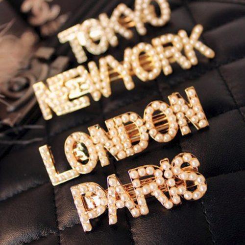 กิ๊บหนีบผมอะไหล่ทองแต่งตัวอักษร LONDON TOKYO NEWYORK PARIS