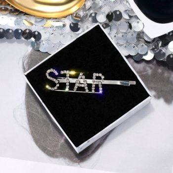 กิ๊บติดผมอะไหล่เงินตัวอักษรเพชร STAR
