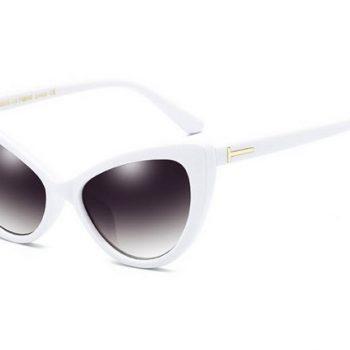 แว่นตากันแดดแฟชั่น Retro Cat eye กรอบสีขาว