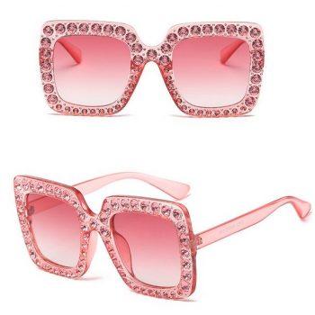 แว่นตากันแดดแฟชั่น Mileny Pink กรอบสีชมพูประดับเพชร