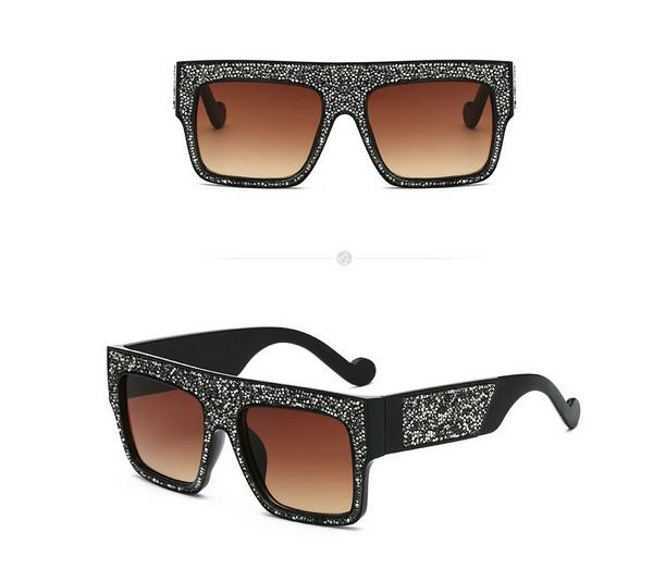 แว่นตากันแดดแฟชั่น Tea Diamonds กรอบเพชรกลิตเตอร์เลนส์สีชา