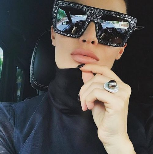 แว่นตากันแดดแฟชั่น Black Diamonds กรอบเพชรกลิตเตอร์เลนส์ดำ