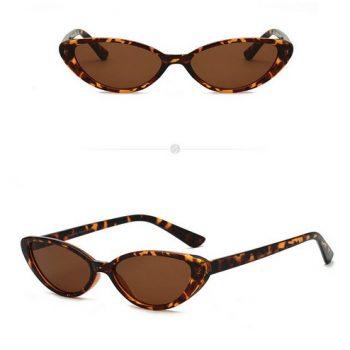แว่นตากันแดดแฟชั่น Vintage Cateye Leopard กรอบลายเสือเลนส์สีชา