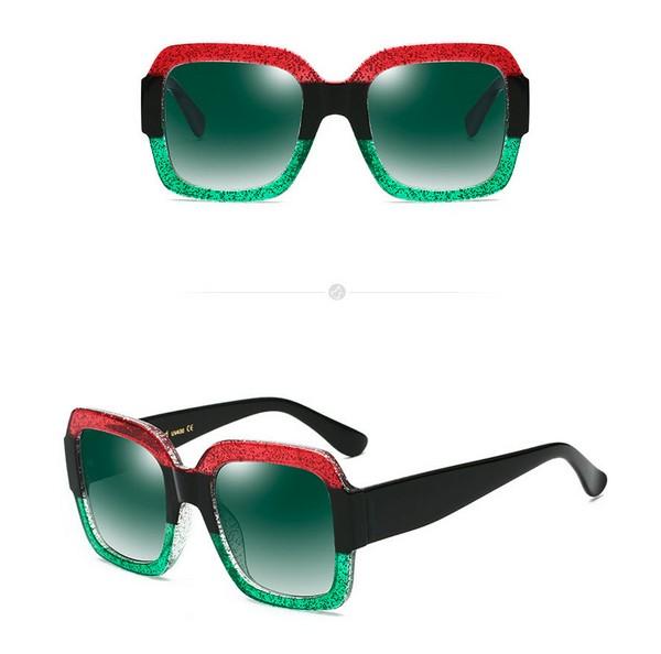 แว่นตากันแดดแฟชั่น REAL STAR Green กรอบแดงเขียวเลนส์สีเขม่าอมเขียว