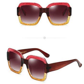 แว่นตากันแดดแฟชั่น REAL STAR Yellow กรอบแดงเหลืองเลนส์สีชา
