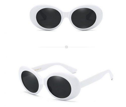 แว่นตากันแดดแฟชั่น Vintage Oval Round กรอบขาวเลนส์ดำ
