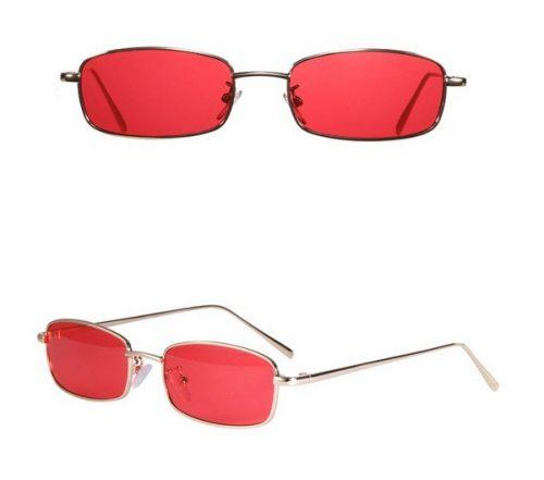 แว่นตากันแดดแฟชั่น Tiny Rectangular Red กรอบทองเลนส์แดงแตงโม