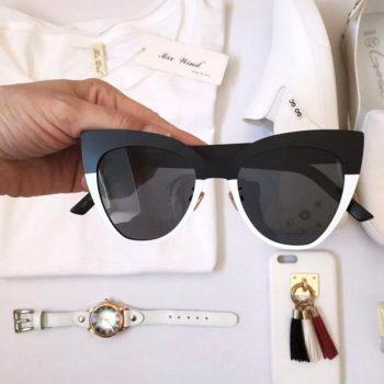 แว่นตากันแดดแฟชั่น Catte Black White กรอบดำแถบขาวเลนส์ดำ