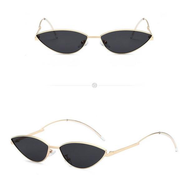 แว่นตากันแดดแฟชั่น Retro 90's กรอบทองเลนส์ดำ