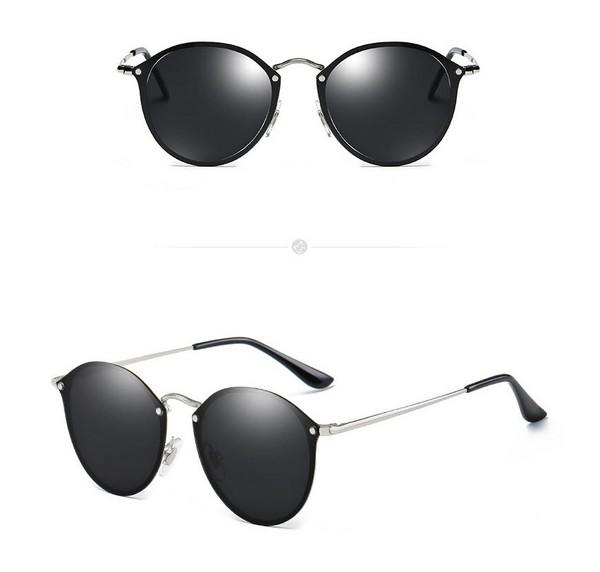 แว่นตากันแดดแฟชั่น Rimless Black กรอบเงินเลนส์ดำ