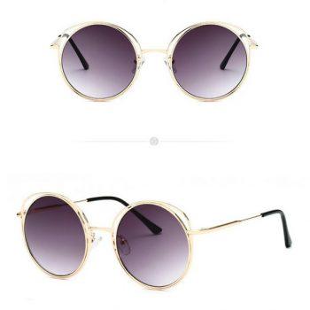 แว่นตากันแดดแฟชั่น Luxury Round Black กรอบทองเลนส์ดำ