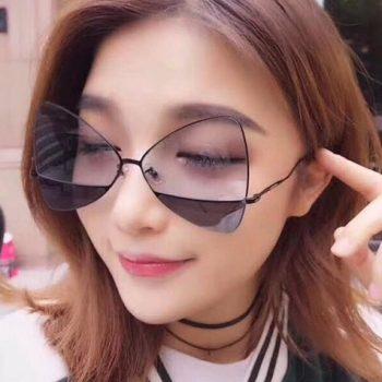 แว่นตากันแดดแฟชั่น Black Peach Butterfly กรอบเงินรมดำเลนส์สีพีชดำใส