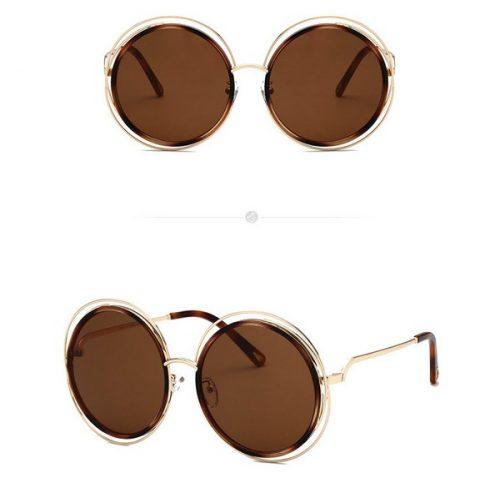 แว่นตากันแดดแฟชั่น Round Blonde Havana กรอบทองเลนส์ชา