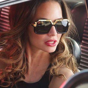 แว่นตากันแดดแฟชั่น Black Gold Luxury Square กรอบดำทองเลนส์ดำทรงหรูหรา