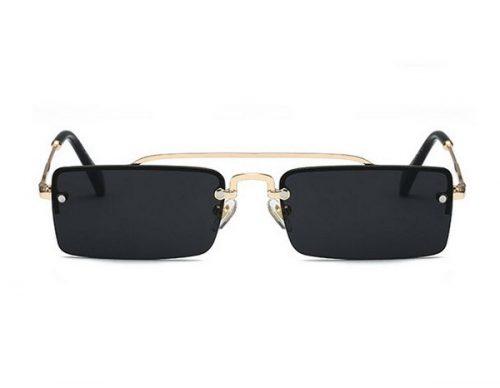 แว่นตากันแดดแฟชั่น Square Double Bridge Black กรอบทองเลนส์สี่เหลี่ยมดำ
