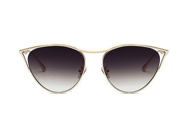 แว่นตากันแดดแฟชั่น Cat eye top Bridge Black กรอบทองเลนส์ดำไล่สี