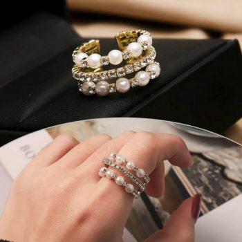 แหวนเพชรปรับไซส์ได้ อะไหล่ทองประดับเพชรเม็ดเล็กๆสลับไข่มุก