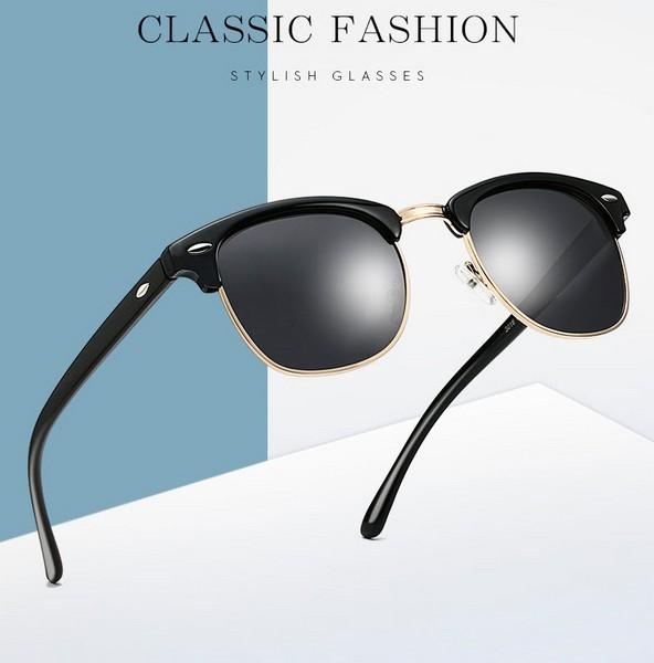 แว่นตากันแดดแฟชั่น Unisex Vintage Outdoor Square กรอบดำขอบทองเลนส์ดำ