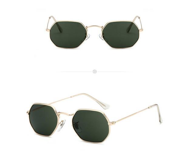 แว่นตากันแดดแฟชั่น Octagon Retro Black กรอบทองเลนส์ดำ