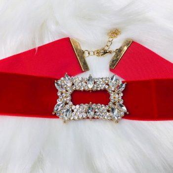 โชคเกอร์อะไหล่ทองผ้ากำมะหยี่สีแดง red ตรงกลางประดับเพชรอลังการ