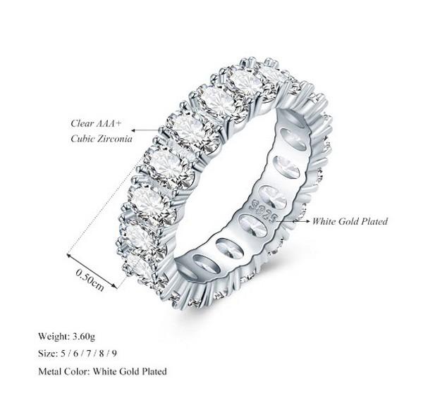 แหวนเพชรล้อมรอบวง 360 องศา ตัวเรือนทำจากโรเดี้ยมไม่ลอกไม่ดำ เพชรสวิส CZ เกรด AAA+