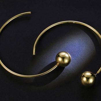 ต่างหูเกาหลีก้านเงิน S925 อะไหล่ทองหมุดทองประดับห่วงทองครึ่งวงกลม