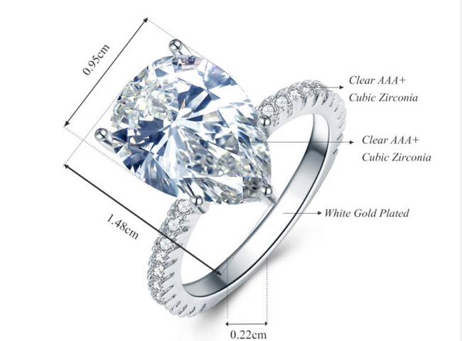 แหวนเพชรสวิส CZ pear cut เกรด AAA+ ตัวเรือนเป็นเงินแท้ S925 ไซส์ 5