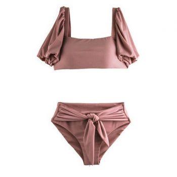 ชุดว่ายน้ำทูพีชสไตล์เกาหลีผ้าร่องสีชมพูนู้ดเข้มเสื้อแต่งแขนพอง